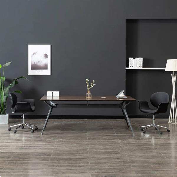 Grote foto vidaxl eetkamerstoel draaibaar kunstleer zwart huis en inrichting stoelen