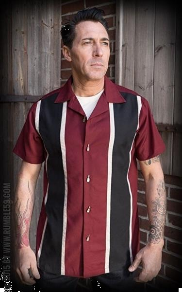 Grote foto rumble 59 classic shirt two stripes red wine in large. kleding heren t shirts