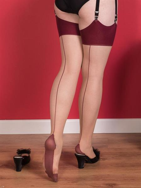 Grote foto what katie did seamed stockings claret glamour. kleding dames ondergoed