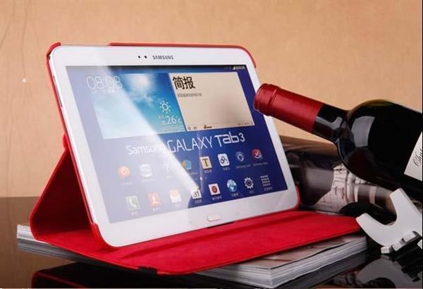 Grote foto 360 graden leren case hoes cover galaxy tab 3 10.1 inch p520 telecommunicatie mobieltjes