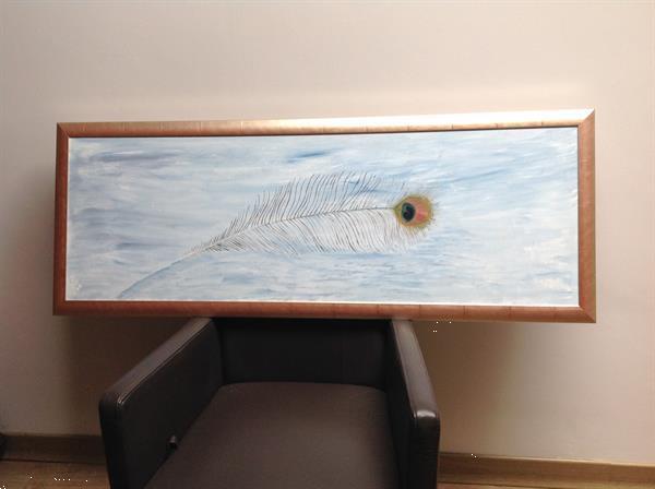 Grote foto olieverfschilderij pauwenveer. huis en inrichting schilderijen en foto