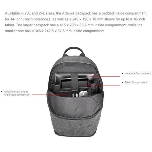 Grote foto asus artemis bp240 14 inch laptop storage bag backpack grey sieraden tassen en uiterlijk rugtassen
