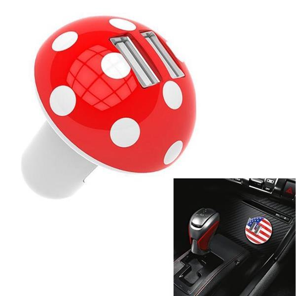 Grote foto mushroom shape qc 3.0 fast charge dual usb car charger m1 re telecommunicatie opladers en autoladers