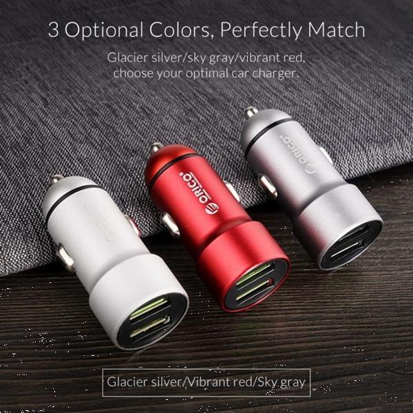 Grote foto orico dual ports usb car charger upm 2u silver telecommunicatie opladers en autoladers