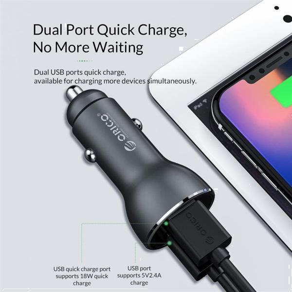 Grote foto orico dual usb quick charge smart car charger upf q2 gray telecommunicatie opladers en autoladers