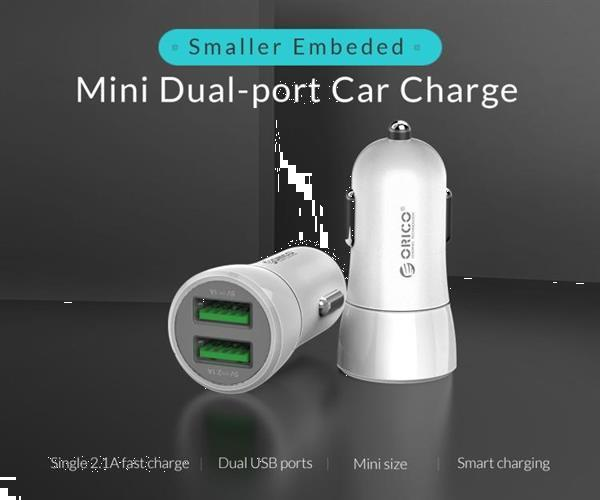 Grote foto orico dual ports usb car charger upq 2u white telecommunicatie opladers en autoladers