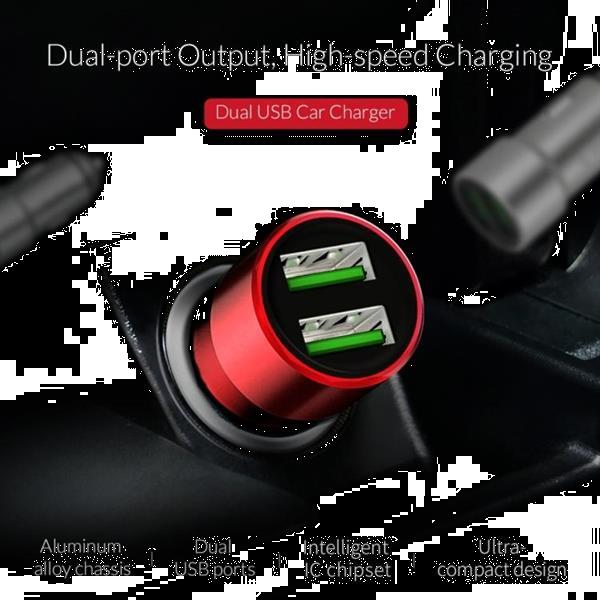 Grote foto orico dual ports usb car charger upm 2u red telecommunicatie opladers en autoladers