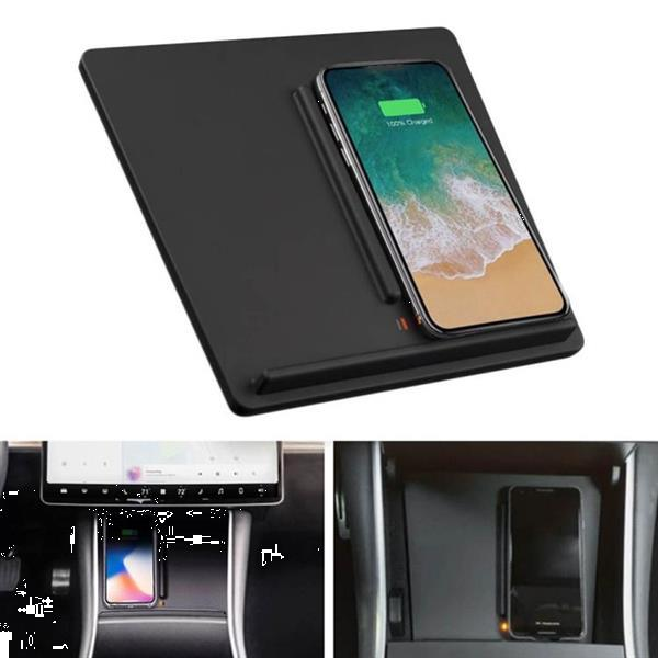Grote foto portable car qc 3.0 wireless fast charger for tesla model 3 telecommunicatie opladers en autoladers