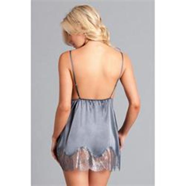Grote foto babydoll met kant grijs erotiek kleding
