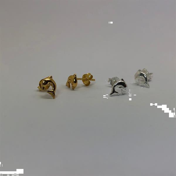 Grote foto zilver en goud 2 paar dolfijn oorstekers sieraden tassen en uiterlijk oorbellen