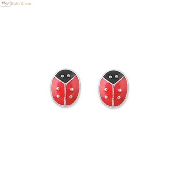 Grote foto zilveren mini oorstekers lieveheersbeestje sieraden tassen en uiterlijk oorbellen