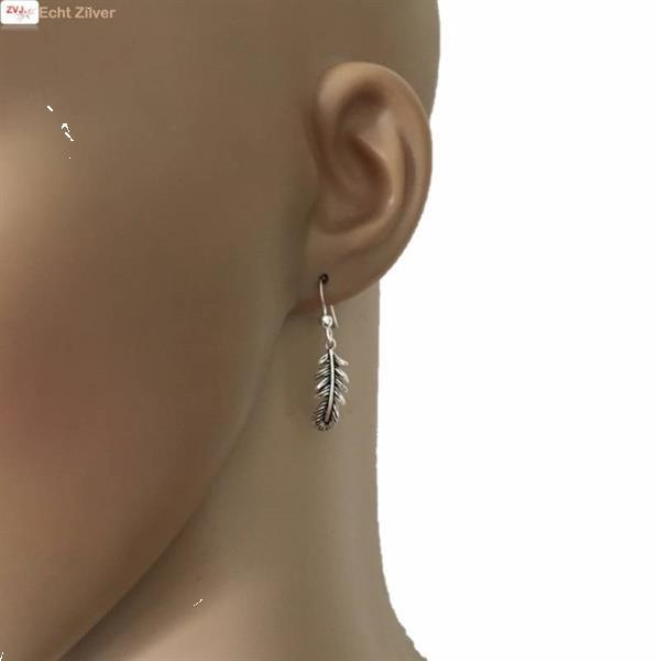 Grote foto zilveren veer oorbellen haakjes sieraden tassen en uiterlijk oorbellen