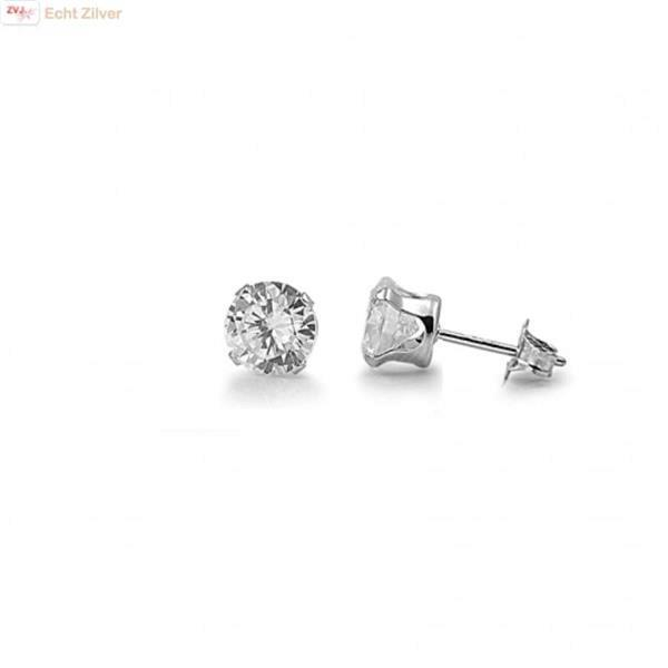 Grote foto zilveren mini oorstekers 4 mm witte zirkoon sieraden tassen en uiterlijk oorbellen