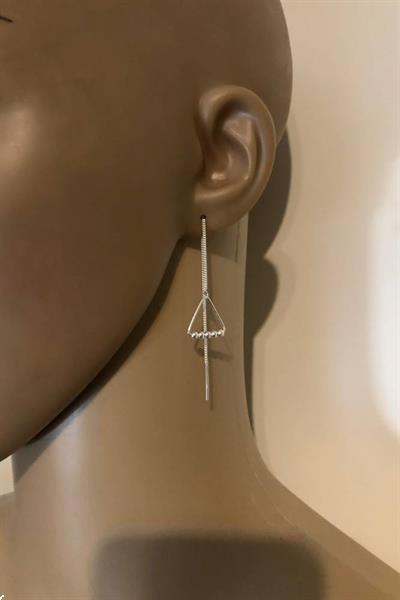Grote foto zilveren triangel met 5 balletjes doortrekoorbellen sieraden tassen en uiterlijk oorbellen