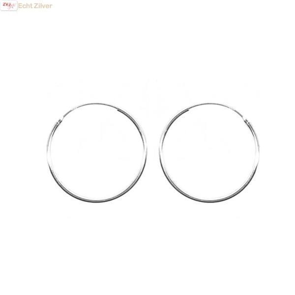 Grote foto zilveren creolen oorringen groot 30 mm 1.2 mm breed sieraden tassen en uiterlijk oorbellen