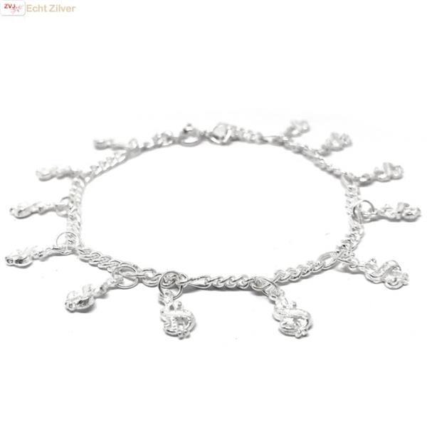 Grote foto zilveren bedelarmband dollartekens sieraden tassen en uiterlijk armbanden voor haar