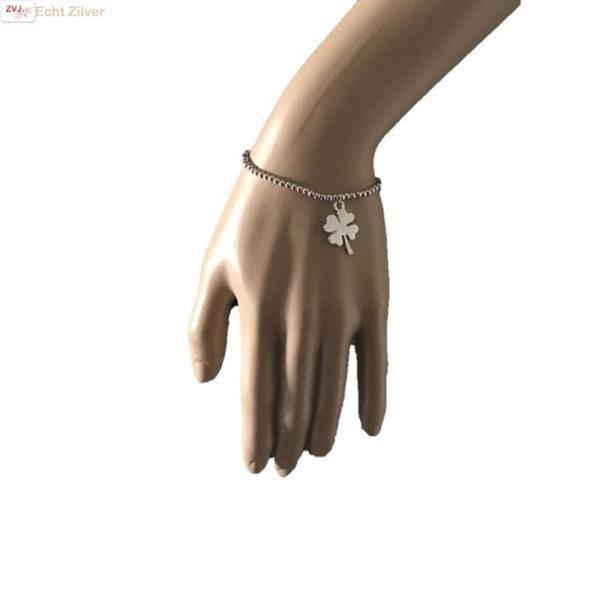 Grote foto zilveren klavertje vier rekarmbandje sieraden tassen en uiterlijk armbanden voor haar