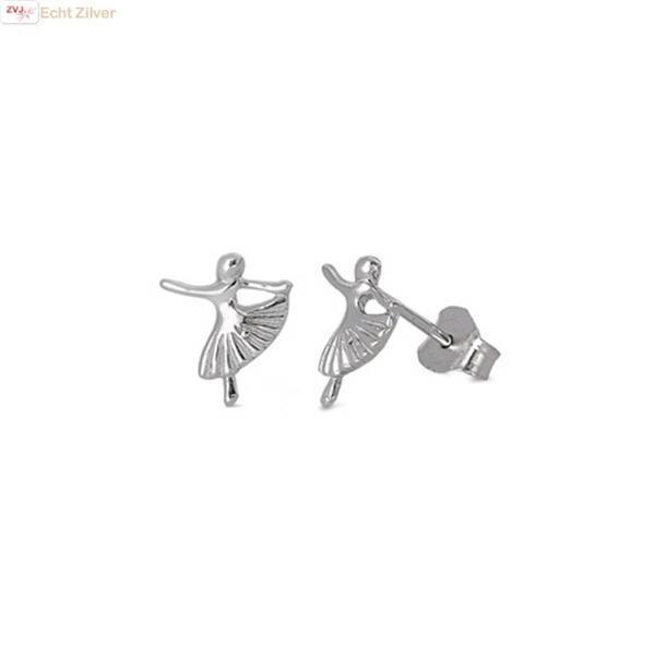 Grote foto zilveren kleine ballerina oorstekers sieraden tassen en uiterlijk oorbellen
