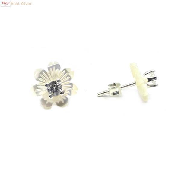 Grote foto zilveren parelmoer zirkonia bloem oorstekers sieraden tassen en uiterlijk ringen voor haar