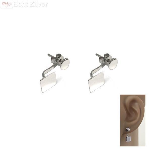 Grote foto zilveren vierkant en cirkel oorstekers sieraden tassen en uiterlijk oorbellen