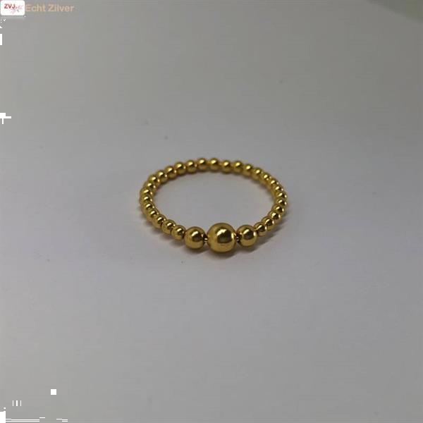 Grote foto goud op zilver balletjes ring sieraden tassen en uiterlijk ringen voor haar