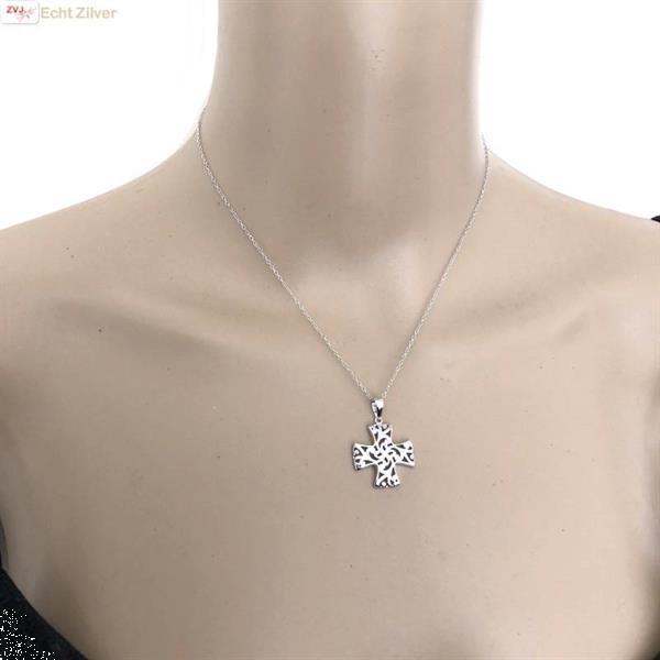Grote foto zilveren collier croix patt e kruis sieraden tassen en uiterlijk kettingen