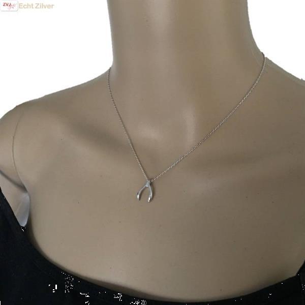 Grote foto zilveren wishbone wensbeen collier sieraden tassen en uiterlijk kettingen