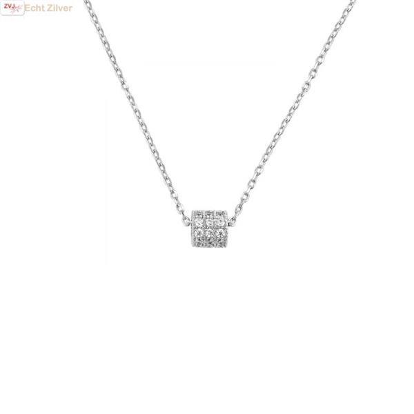 Grote foto zilveren collier mini koker zirkoon hanger sieraden tassen en uiterlijk kettingen