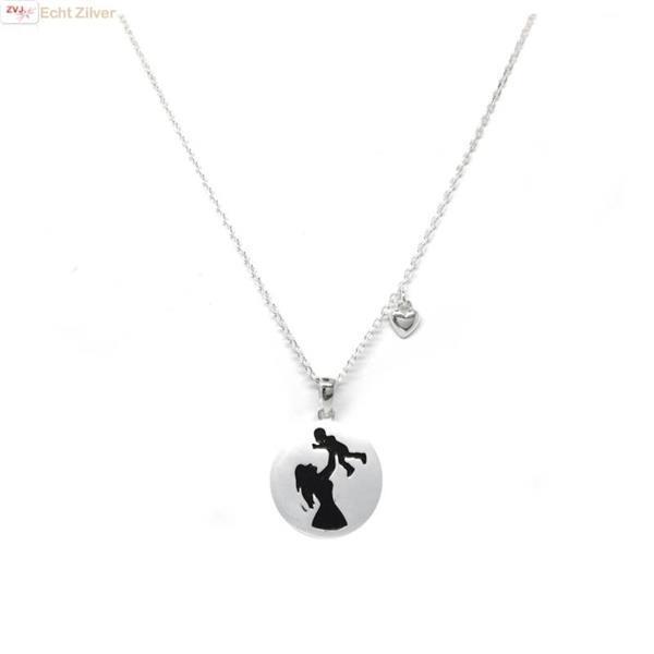 Grote foto zilveren collier met moeder kind hanger en hartje sieraden tassen en uiterlijk kettingen