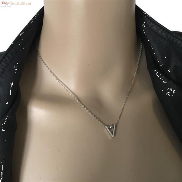 Grote foto zilveren chevron v bal collier sieraden tassen en uiterlijk kettingen