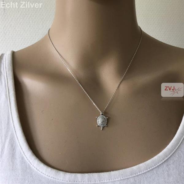 Grote foto zilveren schildpad turtle ketting sieraden tassen en uiterlijk kettingen