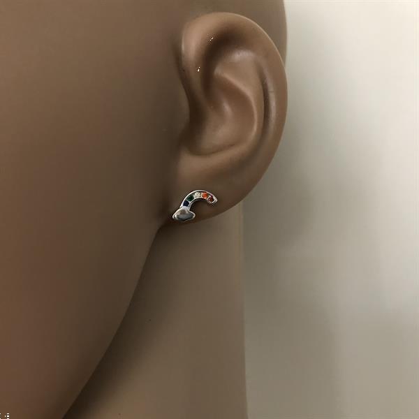 Grote foto zilveren regenboog wolk oorstekers sieraden tassen en uiterlijk oorbellen