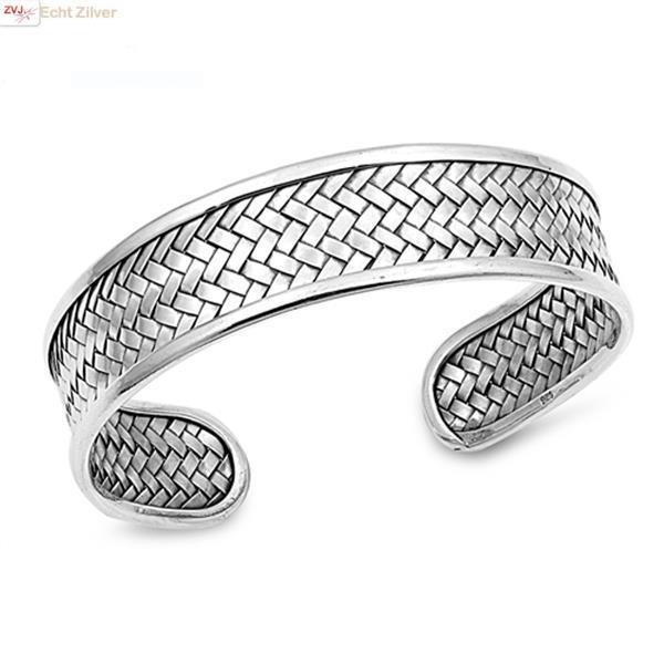 Grote foto zilveren design vlecht klemarmband 15 mm sieraden tassen en uiterlijk armbanden voor haar