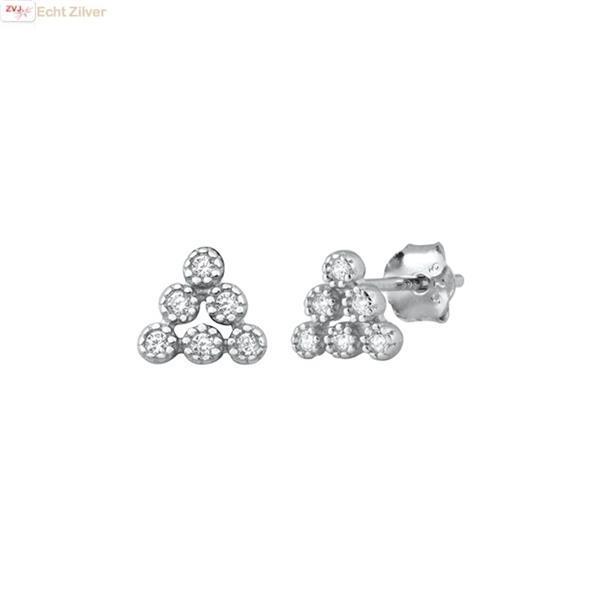 Grote foto zilveren six stars triangle oorstekers sieraden tassen en uiterlijk oorbellen