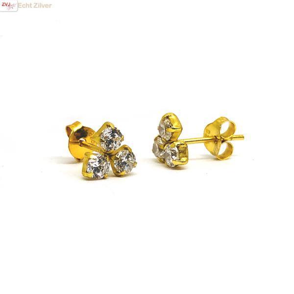 Grote foto goud verguld trintity cz diamant oorstekers sieraden tassen en uiterlijk oorbellen