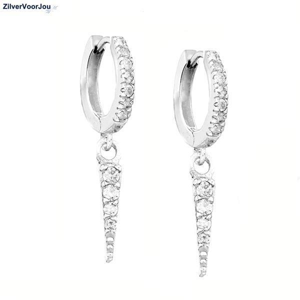 Grote foto zilveren triangel huggie oorringen witte zirkoon sieraden tassen en uiterlijk oorbellen