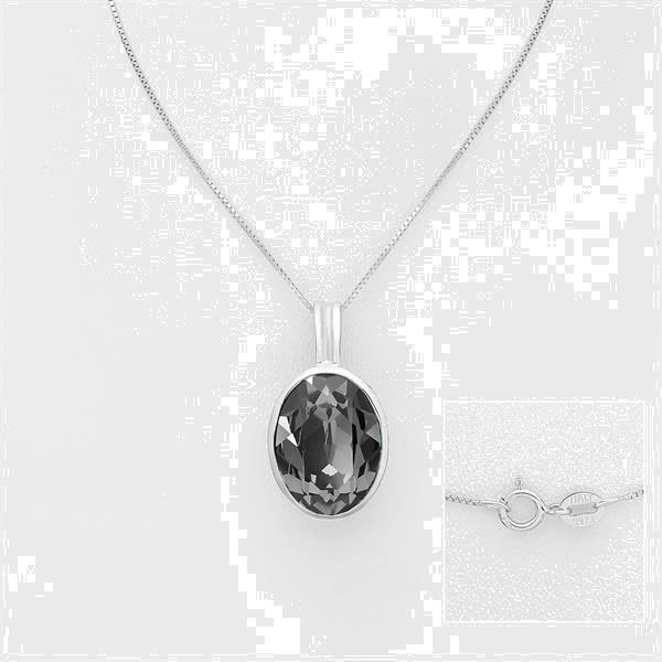 Grote foto zilveren swarovski silver night kristal collier sieraden tassen en uiterlijk kettingen