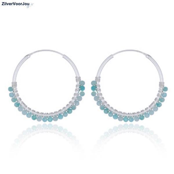 Grote foto zilveren oorringen groene amazoniet 30 mm sieraden tassen en uiterlijk oorbellen