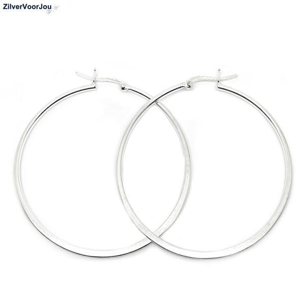 Grote foto zilveren design oorringen 50 mm sieraden tassen en uiterlijk oorbellen
