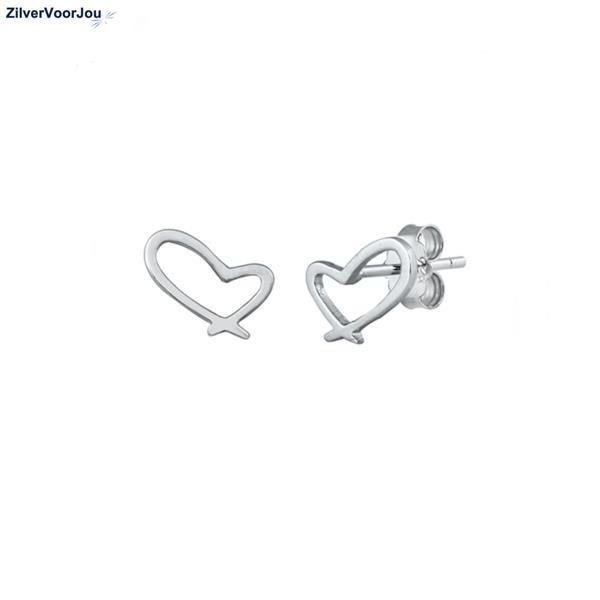 Grote foto zilveren oorbellen open design hartje sieraden tassen en uiterlijk oorbellen