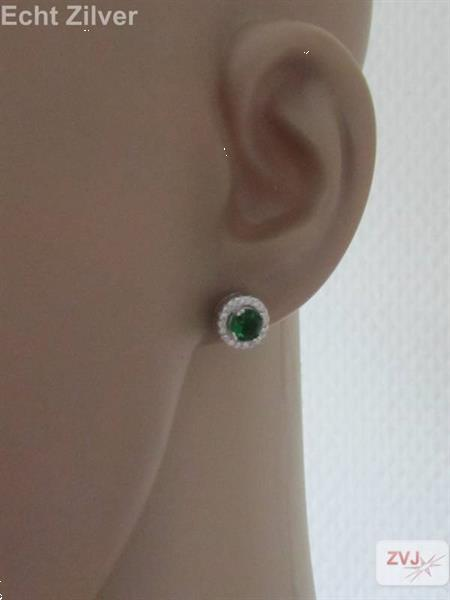 Grote foto zilveren groen witte diana zirkonia set ring hanger oorbelle kleding dames sieraden