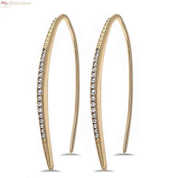 Grote foto goud op zilver unieke dangle witte cz oorbellen sieraden tassen en uiterlijk oorbellen