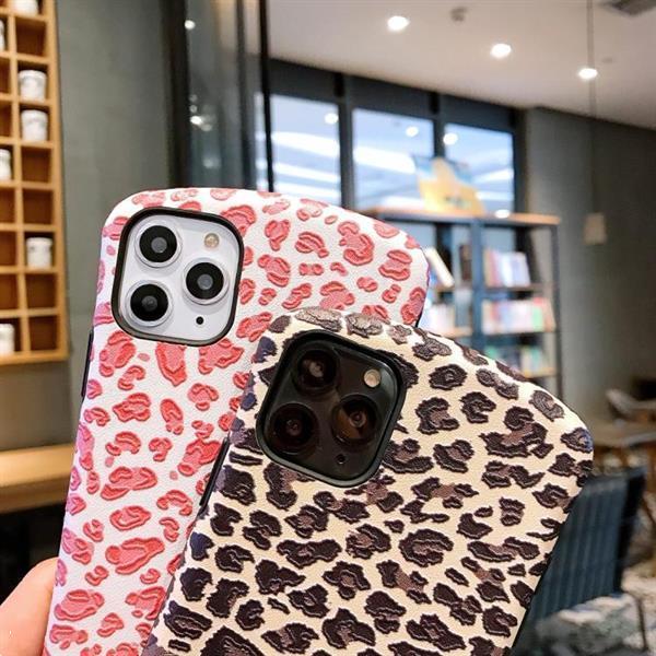 Grote foto for iphone 11 pro leopard embossed small waist shape mobile telecommunicatie mobieltjes