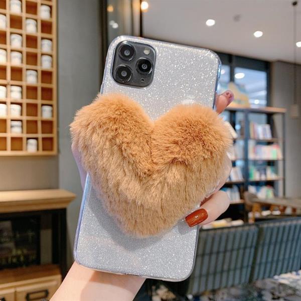 Grote foto for iphone 11 big love glitter powder tpu case silver defau telecommunicatie mobieltjes