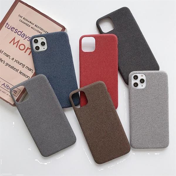 Grote foto for iphone 11 fabric style tpu protective shell gray defaul telecommunicatie mobieltjes