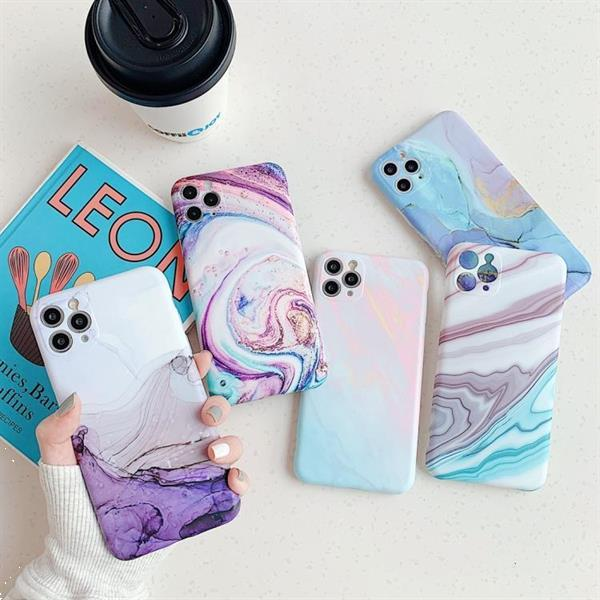 Grote foto for iphone 11 frosted marble pattern shockproof tpu case fir telecommunicatie mobieltjes