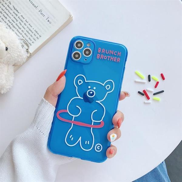 Grote foto for iphone 11 hoop and bear pattern fluorescent tpu mobile p telecommunicatie mobieltjes