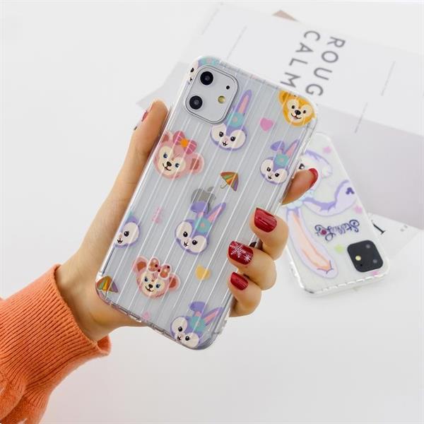 Grote foto for iphone 11 pro max painted suitcase striped tpu case rabb telecommunicatie mobieltjes