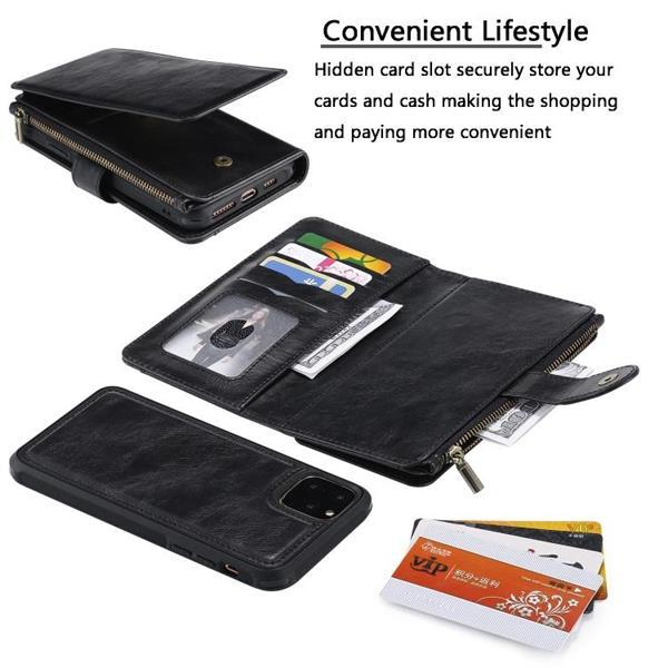 Grote foto for iphone 11 retro multifunctional horizontal flip pu leath telecommunicatie mobieltjes