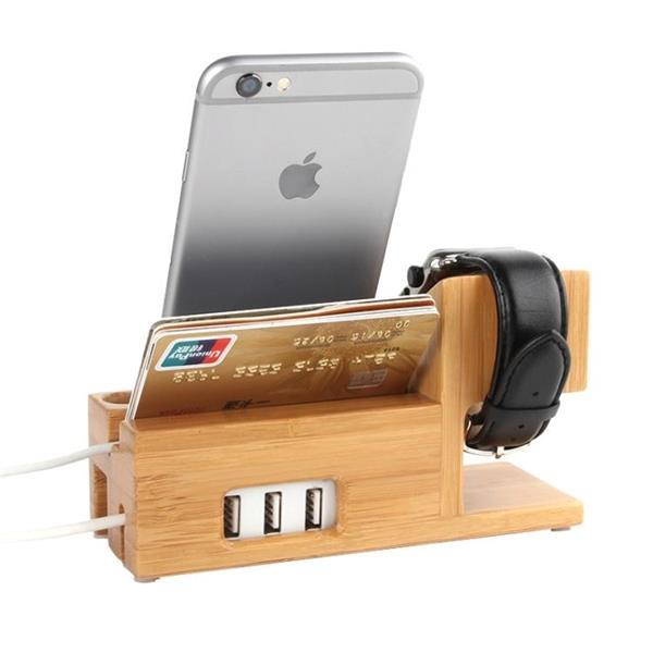 Grote foto 2 in 1 bamboo wooden charger holder with usb cable for apple telecommunicatie opladers en autoladers